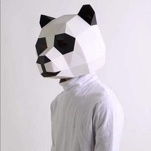 DIY Panda Paper Head Mask Costume